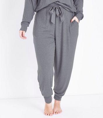 Curves Dark Grey Satin Belt Pyjama Joggers New Look