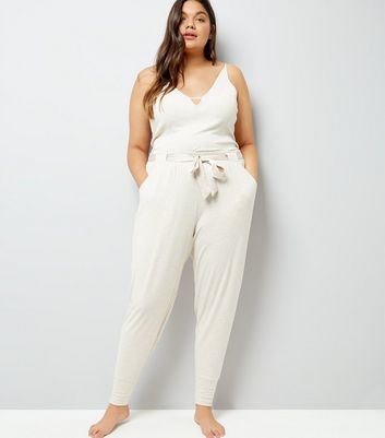 Curves Cream Brushed Jersey Satin Belt Pyjama Joggers New Look