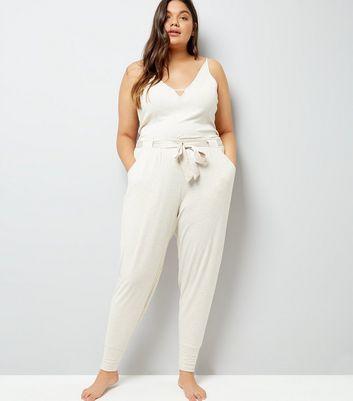 Curves Cream Brushed Jersey Satin Belt Pyjama Joggers New Look