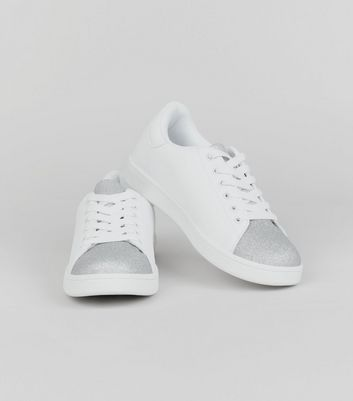 Teens Silver Glitter Panel Trainers New Look