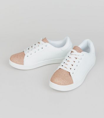 Teens Rose Gold Glitter Panel Trainers New Look
