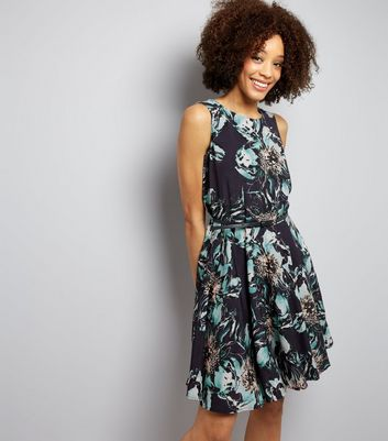 Apricot Green Floral Print Belted Skater Dress New Look