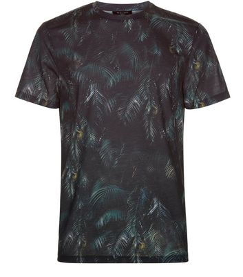 Dark Green Leaf Print T-Shirt New Look