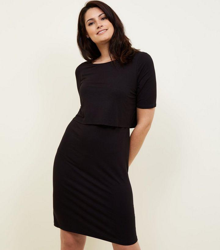 81c38707584 Maternity Black Layered Nursing Dress | New Look