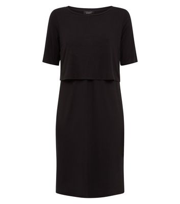 Maternity Black Layered Nursing Dress New Look