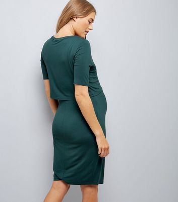 Maternity Dark Green Layered Nursing Dress New Look