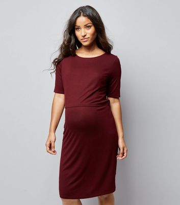 Maternity Burgundy Nursing Layered Midi Dress New Look