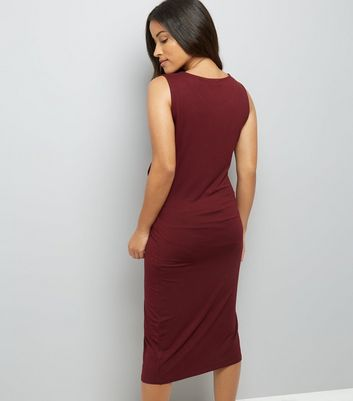 Maternity Burgundy Twist Front Midi Dress New Look