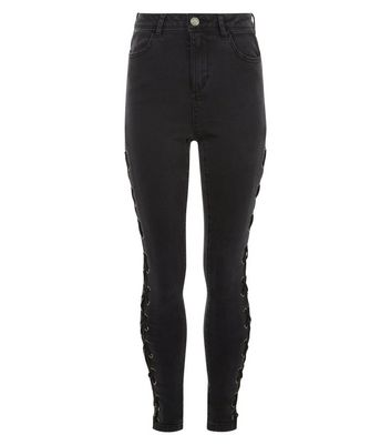Teens Black Lattice Side Skinny Jeans New Look