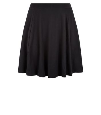 Curves Black High Waist Skater Skirt New Look