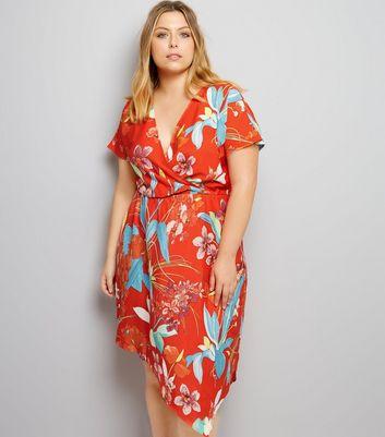 Curves Red Floral Print Hanky Hem Dress New Look