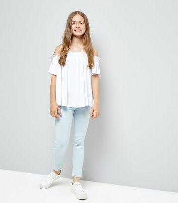 Teens White Bardot Neck Top New Look