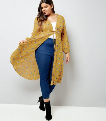 Curves Yellow Floral Print Tie Waist Kimono New Look