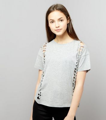 Teens Grey Knot Side T-Shirt New Look