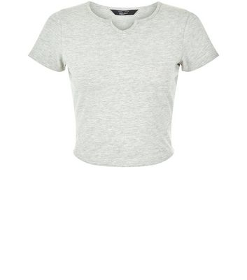 Teens Grey Notch Neck T-Shirt New Look