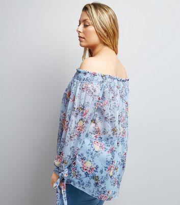 Curves Blue Floral Print Shirred Bardot Neck Blouse New Look
