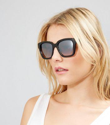 Black Diamante Embellished Mirrored Sunglasses New Look