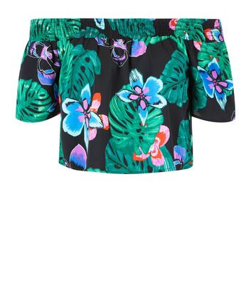 Tall Black Floral Tropical Print Bardot Neck Top New Look