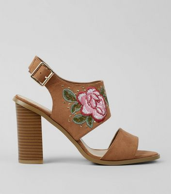 Wide Fit Tan Floral Embroidered Heeled Sandals New Look