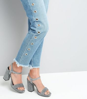 Wide Fit Silver Glitter Heeled Sandals New Look