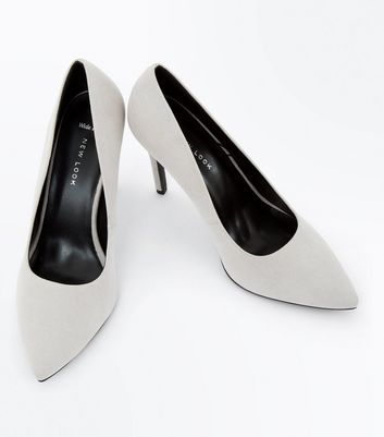 Wide Fit Grey Suedette Pointed Court Shoes New Look