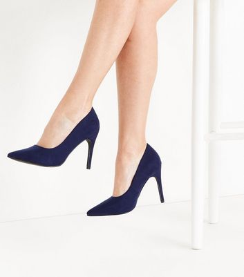 Wide Fit Navy Suedette Pointed Court Shoes New Look