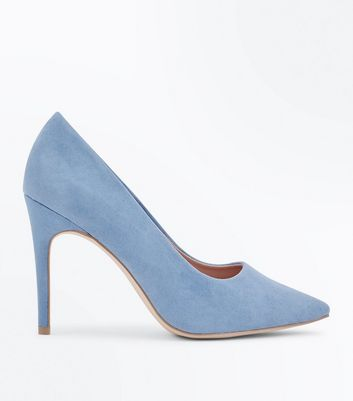 Wide Fit Pale Blue Suedette Pointed Court Shoes New Look
