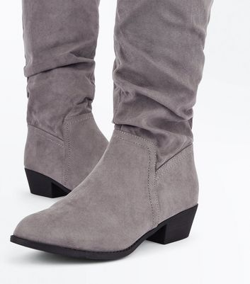 Wide Fit Grey Suedette Knee High Boots New Look