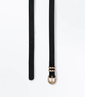 Black Leather-Look Skinny Belt New Look