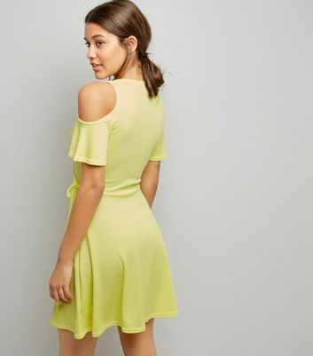 Soft Yellow Cold Shoulder Wrap Front Dress New Look