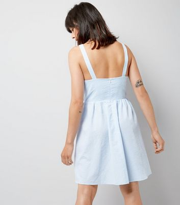 Blue Gingham Seersucker Twist Front Dress New Look