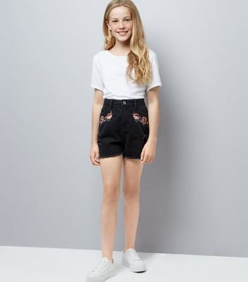 Teens Black Floral Embroidered Denim Shorts New Look