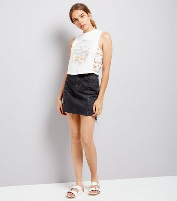 White Vintage Print Crochet Side Vest New Look