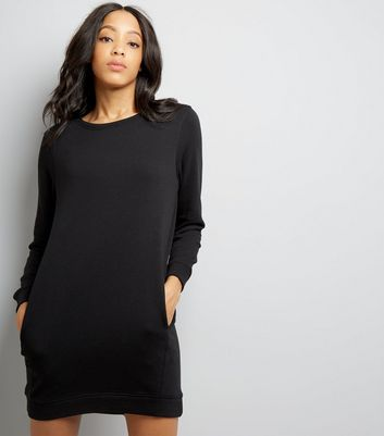 Black Sweatshirt Dress New Look