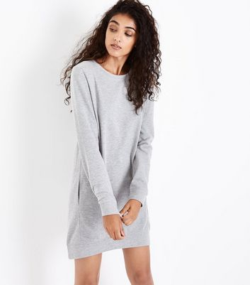 Grey Marl Sweatshirt Dress New Look