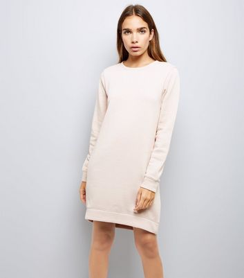 Shell Pink Sweatshirt Dress New Look