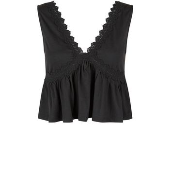Black Lace Peplum Hem Crop Top New Look