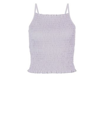 Pale Blue Shirred Crop Cami Top New Look