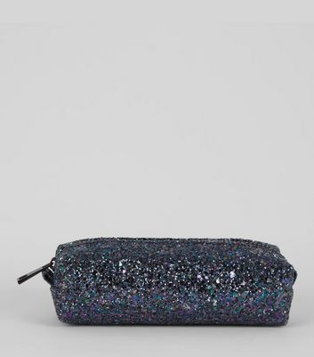Black Glitter Pencil Case New Look