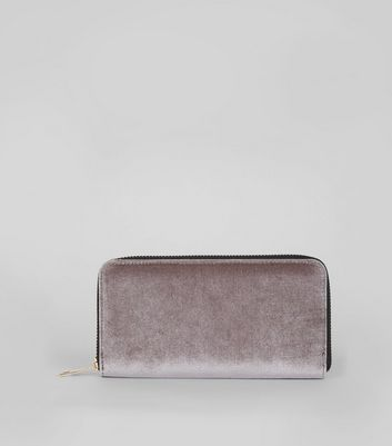 Silver Velvet Zip Around Purse New Look