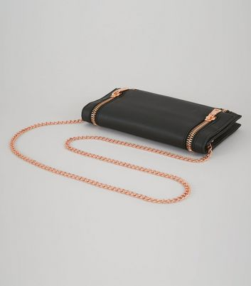 Black Double Zip Foldover Clutch New Look