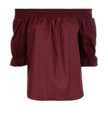 Petite Burgundy Shirred Bardot Neck Top New Look