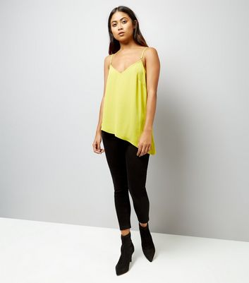 Yellow Asymmetric Trim Cami New Look