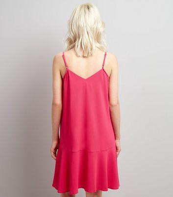Petite Bright Pink Peplum Hem Slip Dress New Look