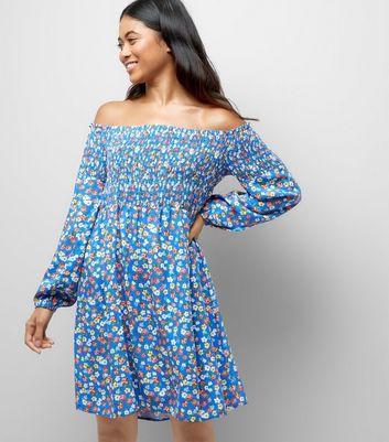 Petite Blue Floral Shirred Bardot Dress New Look