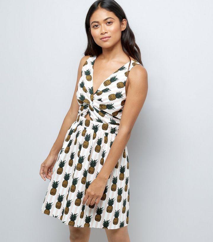 brand new c41d4 12070 Petite – Weißes Sommerkleid aus Popeline mit Ananasmuster Für später  speichern Von gespeicherten Artikeln entfernen