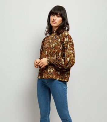Blue Vanilla Yellow Floral Shirred Detail Top New Look