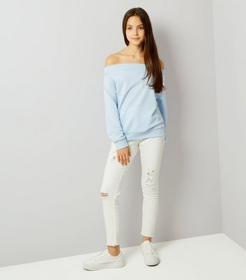 Teens Pale Blue Bardot Sweater New Look