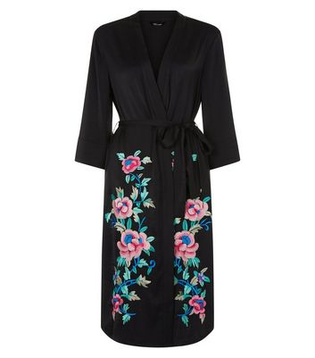 Black Satin Floral Embroidered Kimono New Look