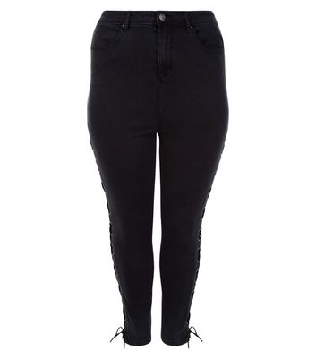 Curves Black Lace Up Side Skinny Jeans New Look